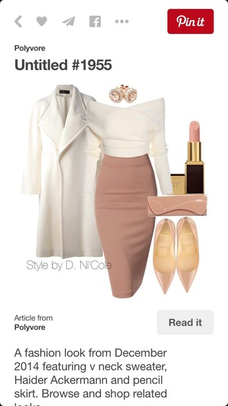 style cute shirys polyvore skirt midi skirt heels jewels jewelry nude heels kim kardashian style white coat bodycon skirt off the shoulder sweater white sweater classy pointed toe patent shoes nude lipstick nude