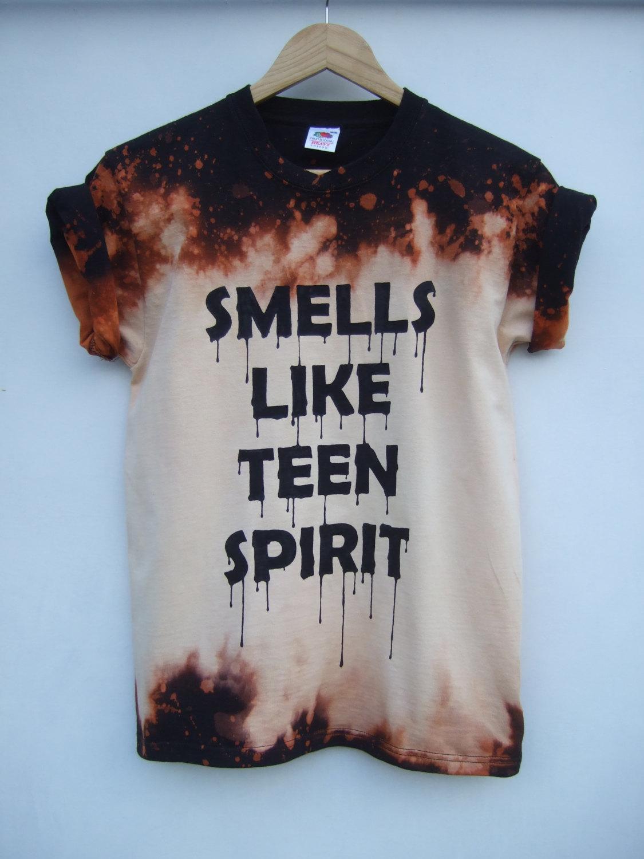 Smells like teen spirit acid wash bleach shirt