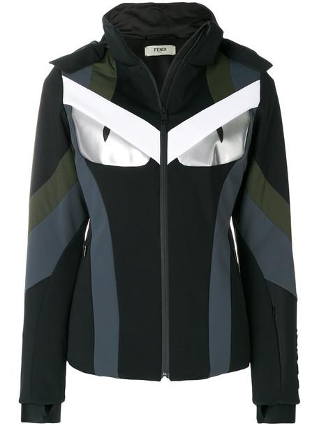 jacket fur fox women spandex black