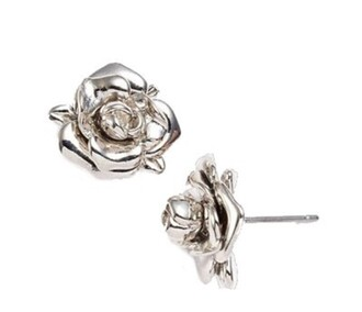 jewels earrings silver rose silver earrings pearl shiny
