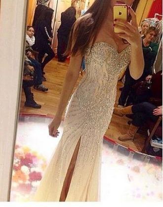 dress silver nude dress prom sparkly dress
