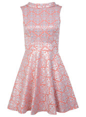 dress,coral baroque dress,coral floral jacquard dress