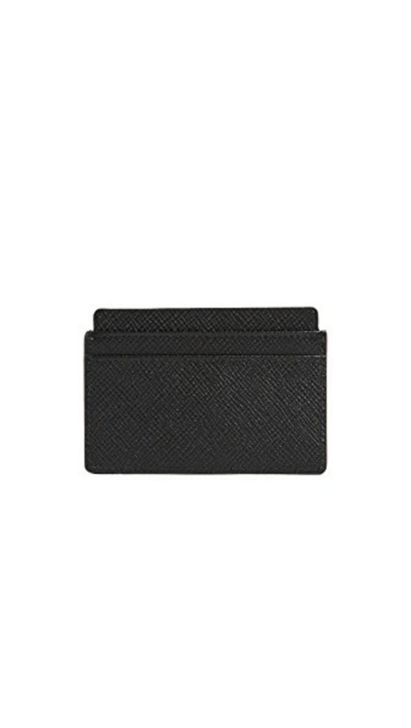 Smythson Panama Flat Card Holder in black