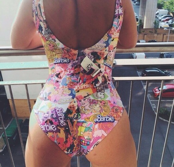 swimwear colorful barbie pink