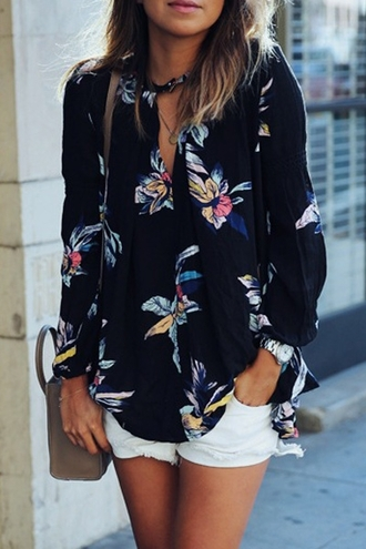 top floral shirt long sleeves colorful dark navy black dressy classy elegant