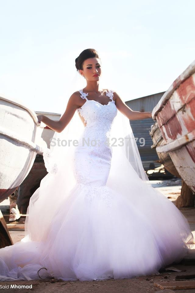 Buy sexy sheer back sleeveless appliqued for Aliexpress mermaid wedding dresses