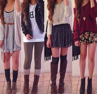 blouse sweater skirt top cardigan dress jacket socks shirt white cream red wine black brown leather boots cute winter outfits fall outfits hipster green