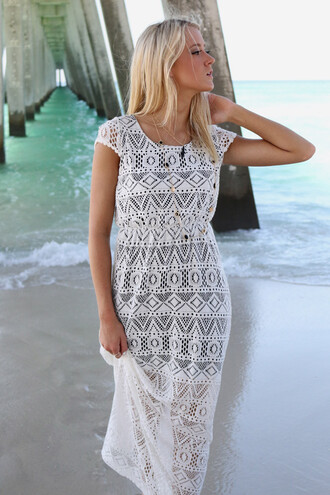 dress lace white maxi maxi dress sun summer amazinglace amazinglace.com beach blonde hair tan pretty
