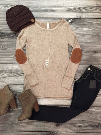 sweater beige sweater elbow patches