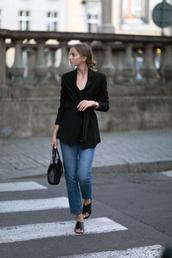 jacket,black shoes,tumblr,black blazer,blazer,denim,jeans,blue jeans,shoes,mules,bag,black bag