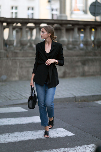 jacket black shoes tumblr black blazer blazer denim jeans blue jeans shoes mules bag black bag