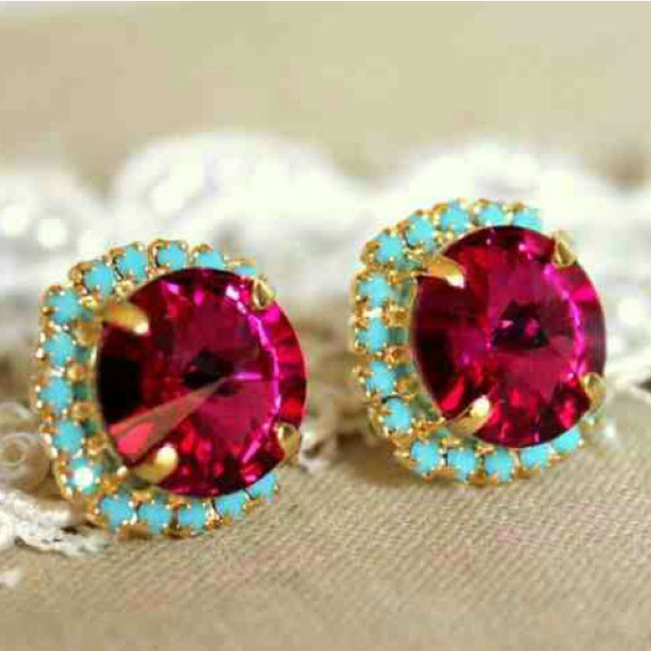 jewels swarovski rhinestones earrings girly fashion turquoise pink magenta gold style accessories
