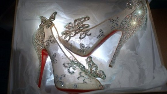 shoes butterfly glass slippers crystals