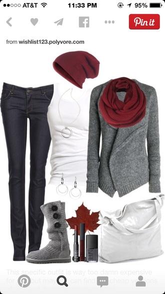 t-shirt burgundy beanie white tank top black jeans grey sweater burgundy scarf scarf beautymanifesto cardigan sweater