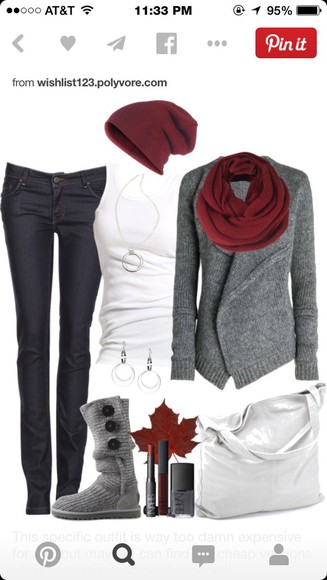 black jeans grey sweater burgundy scarf t-shirt burgundy beanie white tank top grey uggs scarf beautymanifesto