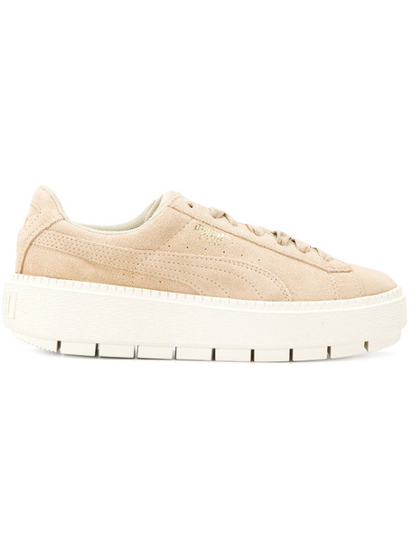 puma women thick sneakers nude suede shoes