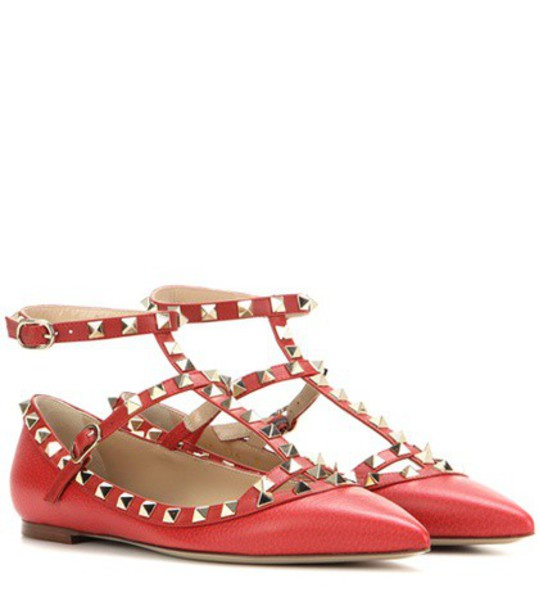 Valentino Rockstud Leather Ballerinas in red