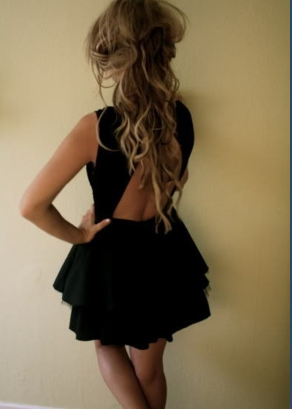 black dress dress little black dress open back pretty ruffle open back dresses black tiered skirt hipster fashion dress fashion cut-out cut-out dress black mesh cutouts black prom dress open back dresses cute summer outfits clubwear hot sexy messy tumblr backless dress backless party dress outfit hot dress sexy dress backless black dress party outfits skirt