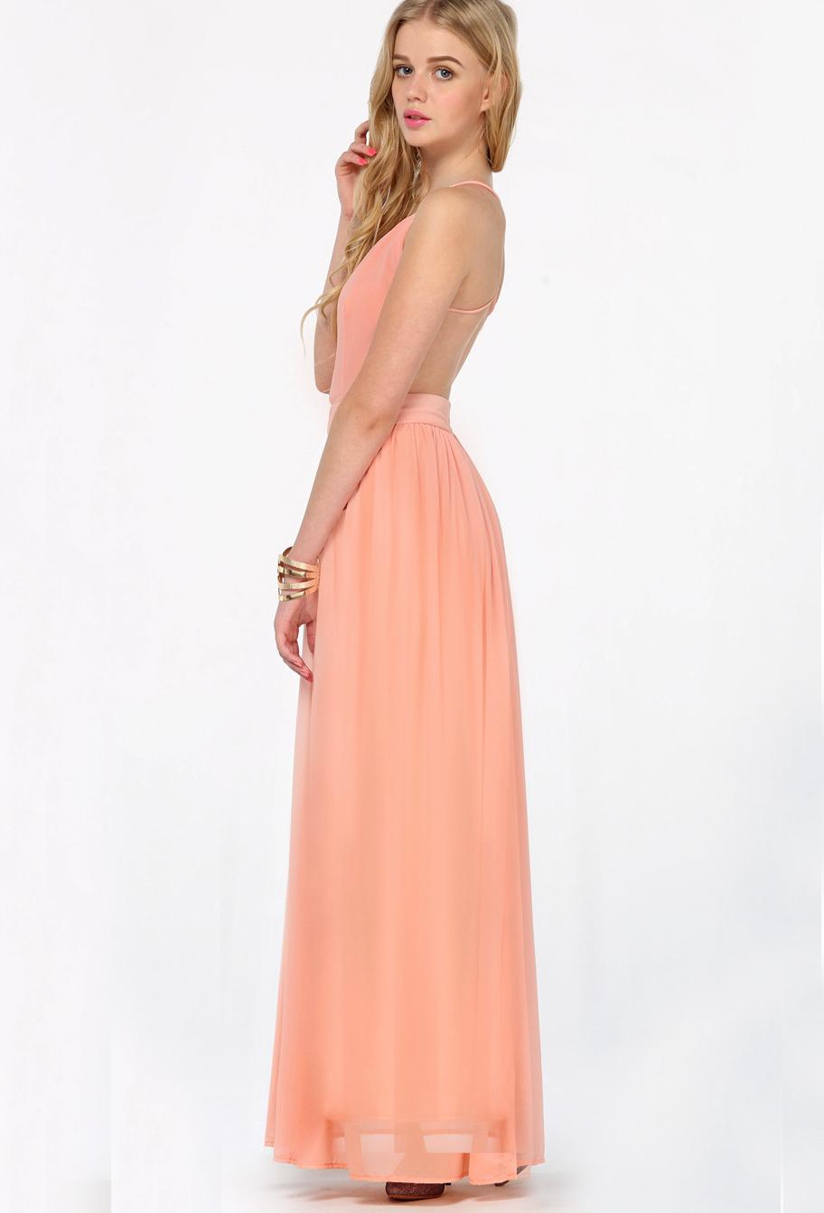 Peach maxi dress wedding