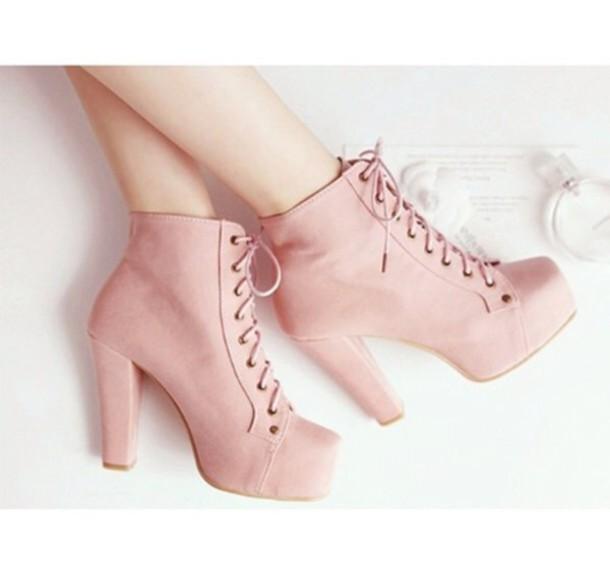 shoes kawaii shoes platform lace up boots pastel pink