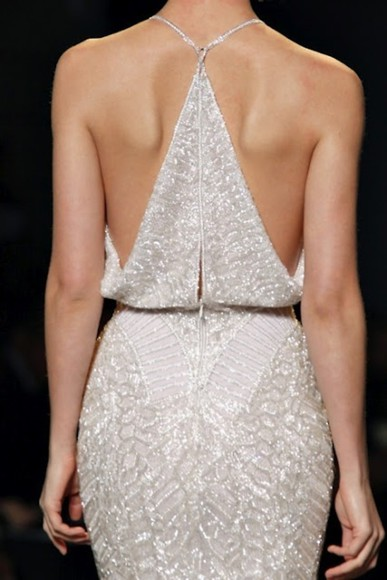 white sparkling dress open back sparkling dress runway ivory