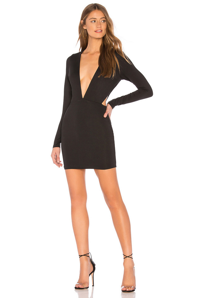 by the way. Rhonda Deep V Mini Dress in black