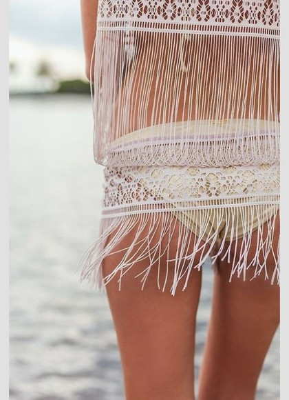 swimwear fringe beach cover up hat sweater