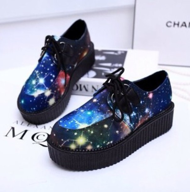 shoes kawaii shoes creepers galaxy print