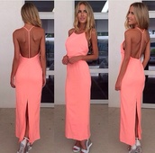 dress,pink dress,pink,peach dress,backless dress,backless,long dress,luxury,fashion,celebrity style,summer dress,summer,summer outfits