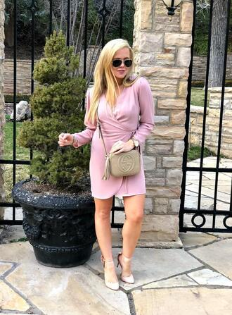 the fashion canvas – a fashion & lifestyle blog blogger dress sunglasses jewels shoes bag gucci bag crossbody bag pumps pink dress spring outfits