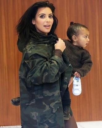 jacket kim kardashian fashion week camo jacket