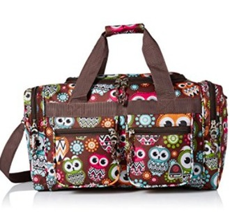 bag owl travel pockets hippie brown tote bag rockland 19 inch tote bag one size