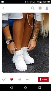 shoes,white,boots with laces