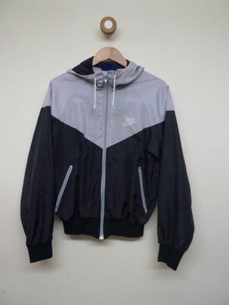 coat nike black grey jacket just do it hoodie