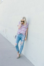 little miss fearless,blogger,jeans,shoes,bag,jewels,ripped jeans,plaid,shoulder bag,wedges,grey sandals,tartan,plaid shirt,blue jeans,cuffed jeans,cropped jeans,sunglasses,tortoise shell,tortoise shell sunglasses,spring outfits