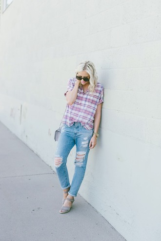 little miss fearless blogger jeans shoes bag jewels ripped jeans plaid shoulder bag wedges grey sandals tartan plaid shirt blue jeans cuffed jeans cropped jeans sunglasses tortoise shell tortoise shell sunglasses spring outfits