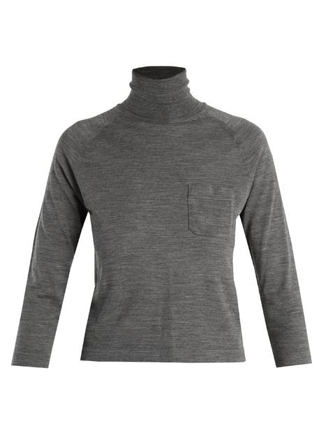Prada sweater wool sweater wool light grey