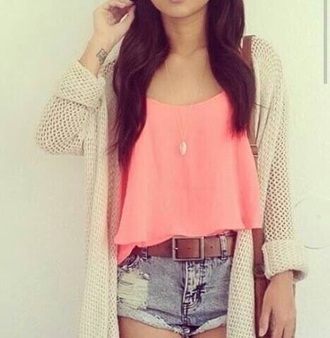 top pink tank top rosa crop tops crop crop-tops cardigan shorts belt