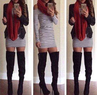 dress stripes black and white short