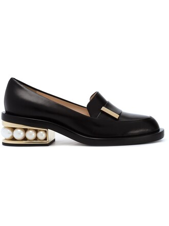 heel embellished loafers black shoes