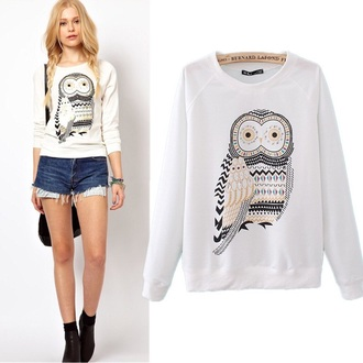 jacket owl gold white hoodie sweater girly cute
