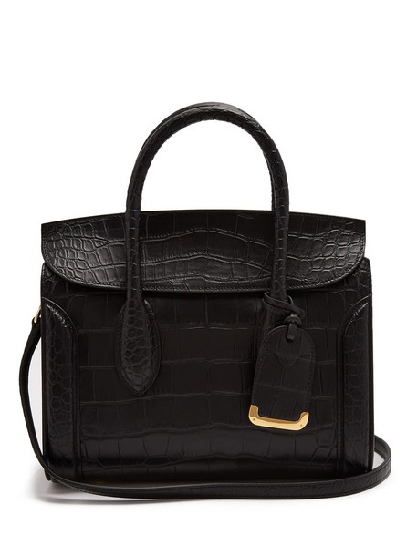 Alexander Mcqueen leather crocodile black bag
