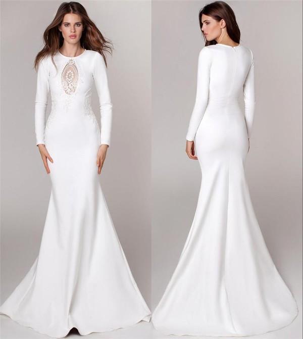 2016 Lurelly Keyhole Neck White Winter Wedding Dresses Mermaid ...