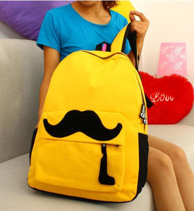 f27b118e1fed Aliexpress.com   Buy Yellow Womens Full Mustache Cotton Campus Backpack  Girls School Bag A from Reliable ...