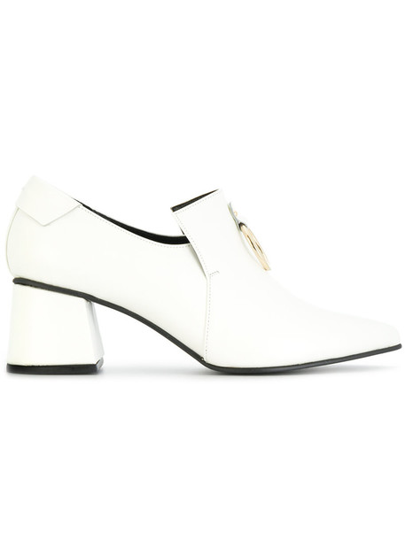 Reike Nen heel chunky heel women loafers leather white shoes