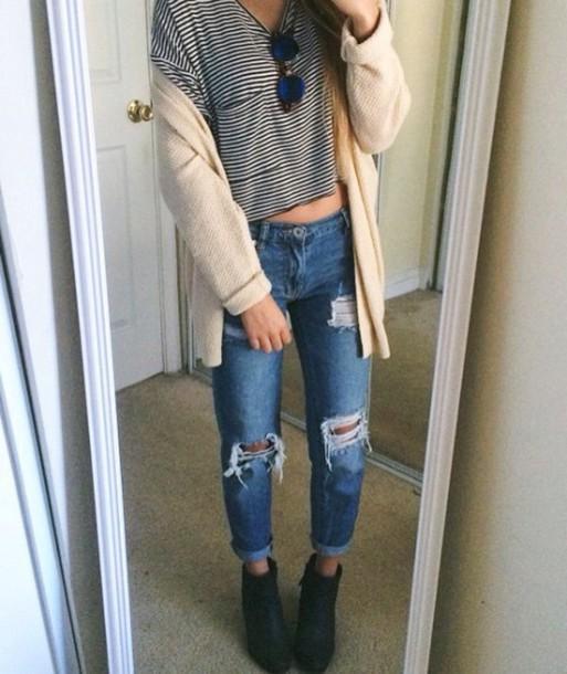 jeans shirt cardigan