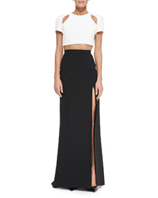 Sleeve crop top with cutouts & long skirt with high slit