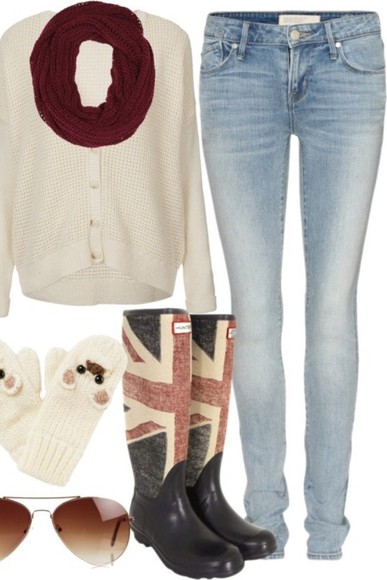 white sweater shoes british flag boots boots british flag circle scarf burgundy scarf scarf jeans animals mittens mittens