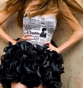 dress prom dress black dress newspaper dress ruffle