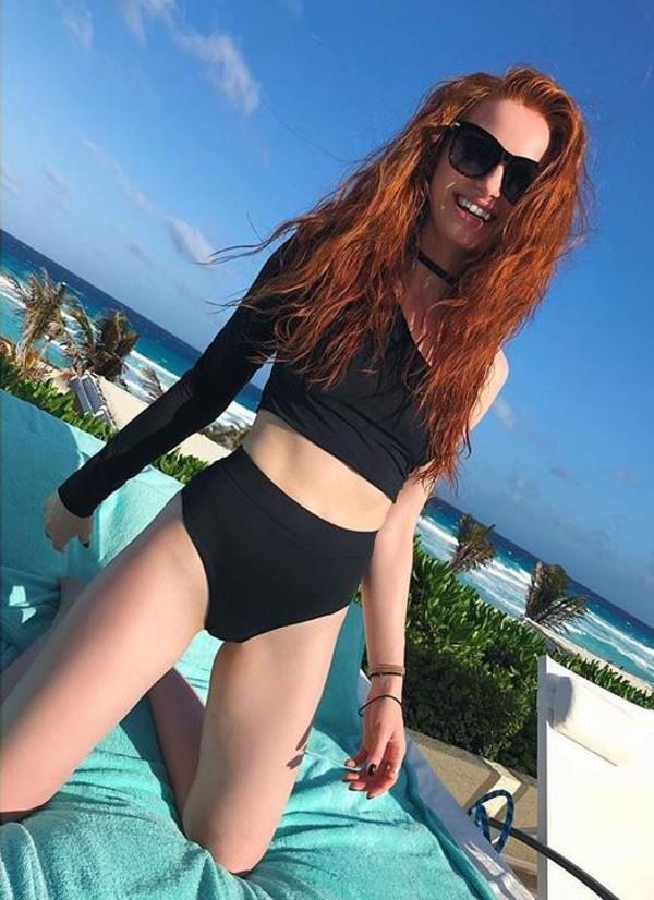top swimwear bikini bikini top bikini bottoms madelaine petsch black black swimwear instagram sunglasses summer